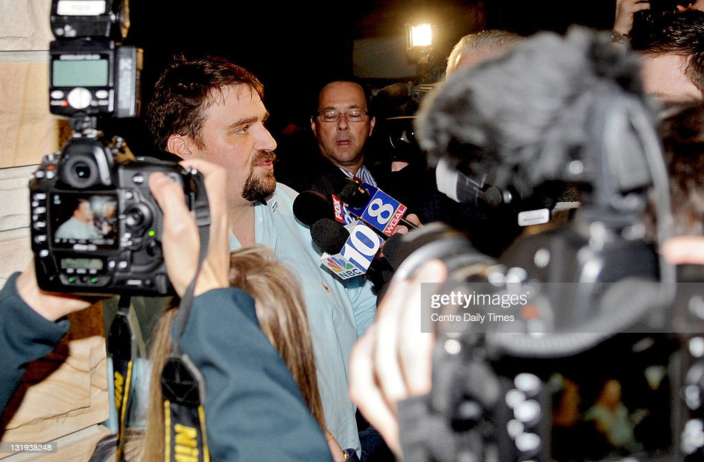 Scott Paterno, son of Penn State football coach Joe Paterno, talks to the media and fans that had gathered outside of the Paterno home on Tuesday, November 8, 2011 in State College, Pennsylvania.