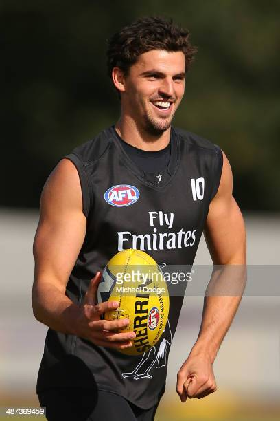 Scott Pendlbury reacts during a Collingwood Magpies AFL training session at the Westpac Centre on April 30 2014 in Melbourne Australia