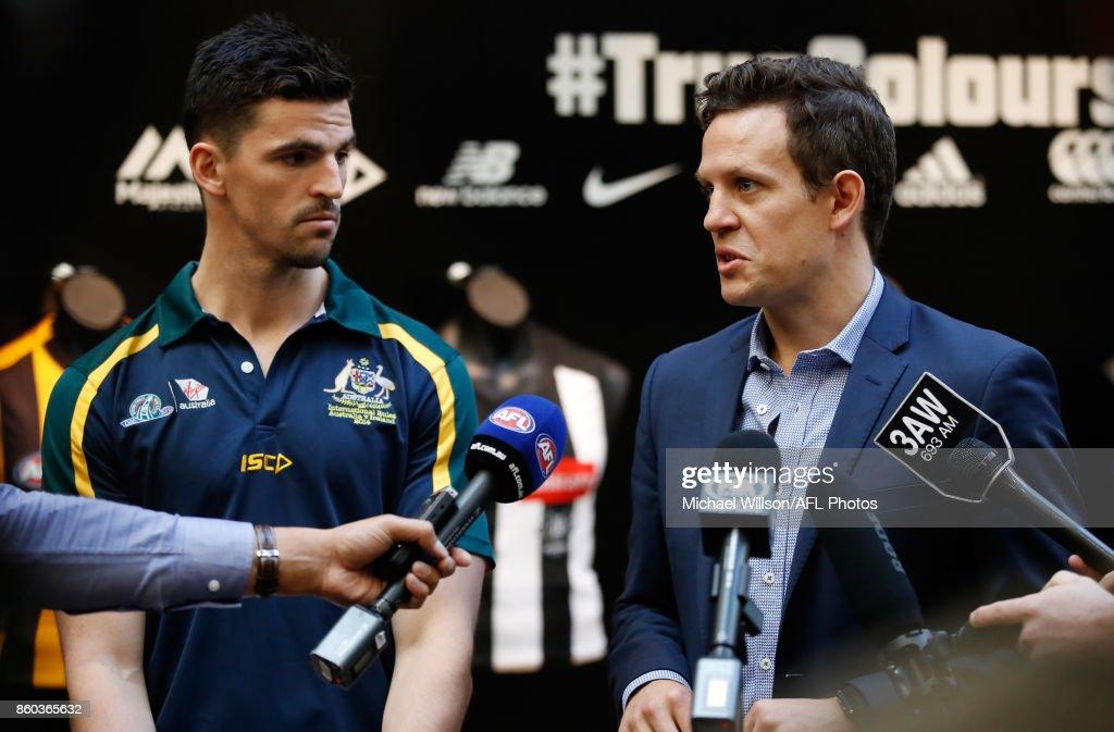 Scott Pendlebury (left) and Luke Ball speak to the media during the Australian International Rules Series Team Announcement at AFL House on October 12, 2017 in Melbourne, Australia.