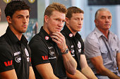 Scott Pendlebury Coach Nathan Buckley Scott Burns and Tony Shaw look on during the Collingwood Magpies AFL season launch at the Westpac Centre on...