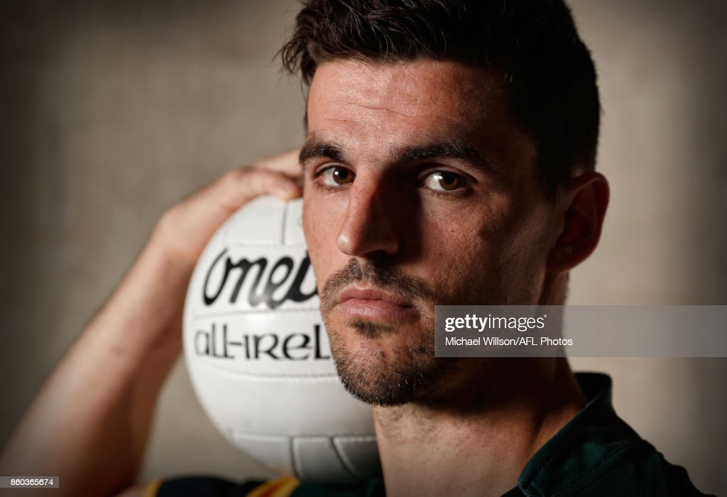 Scott Pendlebury poses for a photograph during the Australian International Rules Series Team Announcement at AFL House on October 12, 2017 in Melbourne, Australia.