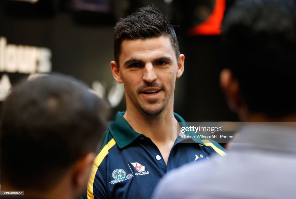 Scott Pendlebury speaks to the media during the Australian International Rules Series Team Announcement at AFL House on October 12, 2017 in Melbourne, Australia.