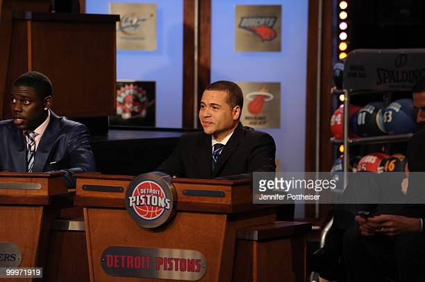 Scott Perry VP of Basketball Operations of the Detroit Pistons looks on during the 2010 NBA Draft Lottery at the Studios at NBA Entertainment on May...