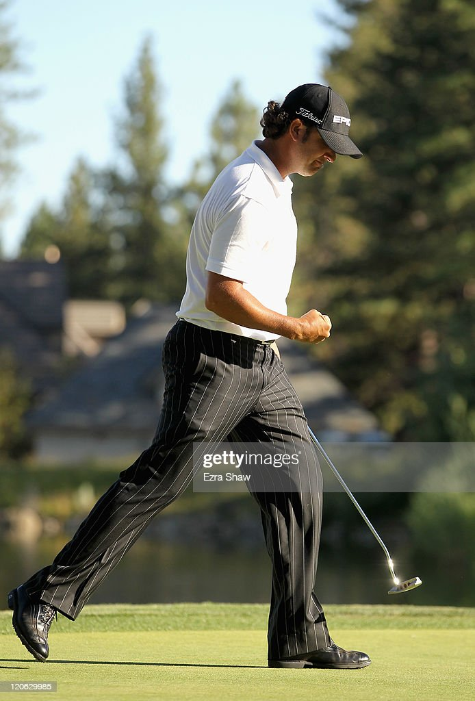 <a gi-track='captionPersonalityLinkClicked' href=/galleries/search?phrase=Scott+Piercy&family=editorial&specificpeople=4464716 ng-click='$event.stopPropagation()'>Scott Piercy</a> celebrates after he made a putt to win the Reno-Tahoe Open at Montreux Golf & Country Club on August 7, 2011 in Reno, Nevada.