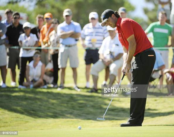 Scott Piercy hits his putt during the third round of the Justin Timberlake Shriners Hospitals for Children Open held at TPC Summerlin on October 17...