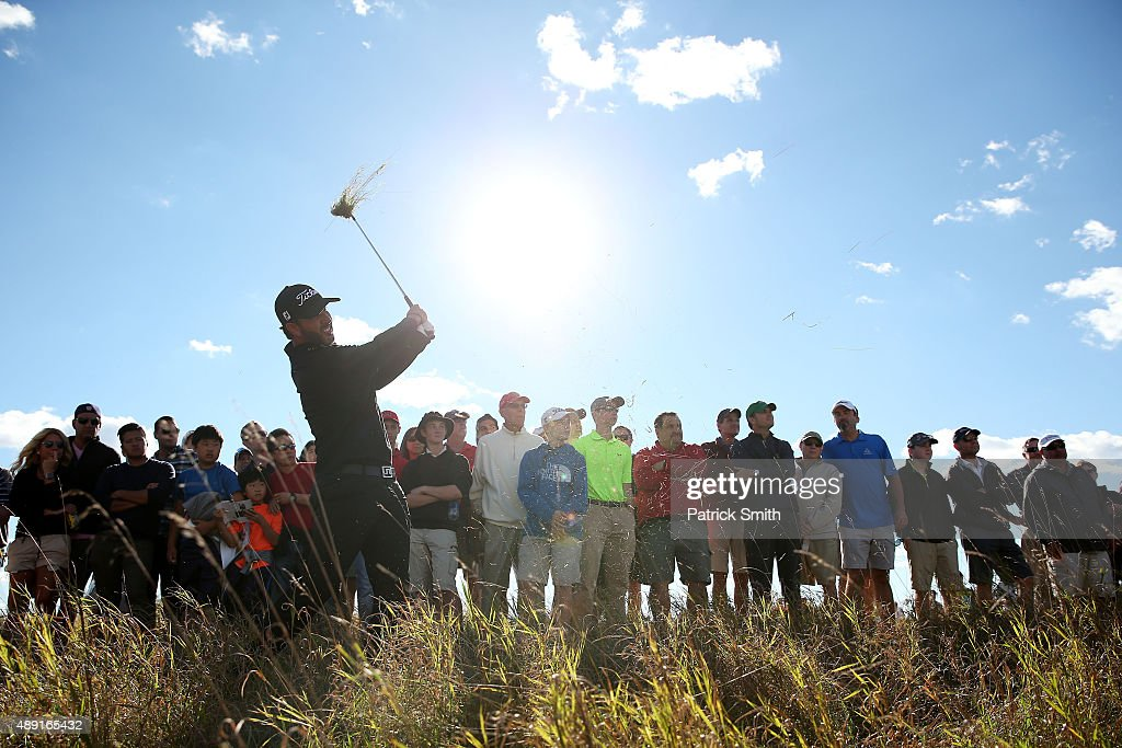 Scott Piercy plays a shot on the 16th hole during the Third Round of the BMW Championship at Conway Farms Golf Club on September 19, 2015 in Lake Forest, Illinois.