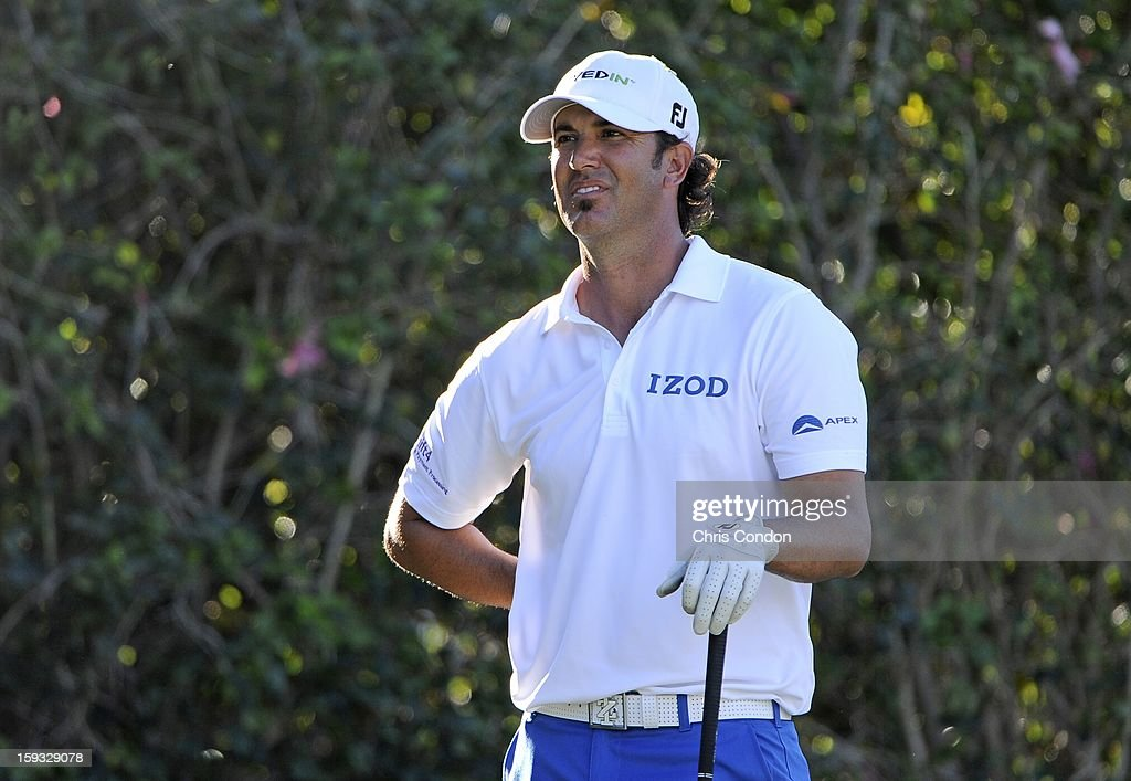 Scott Piercy waits to tee off on the ninth hole during the second round of the Sony Open in Hawaii at Waialae Country Club on January 11, 2013 in Honolulu, Hawaii.