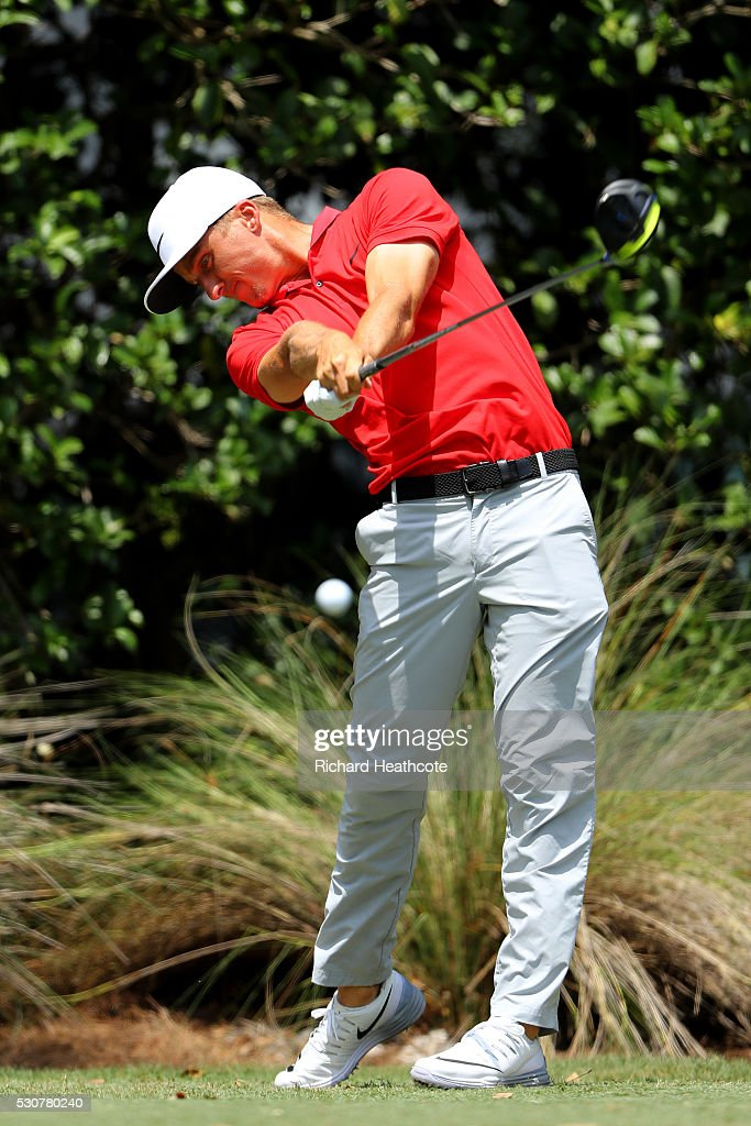 Scott Pinckney in action during a practise round for THE PLAYERS Championship on The Stadium Course at TPC Sawgrass on May 11, 2016 in Ponte Vedra Beach, Florida.