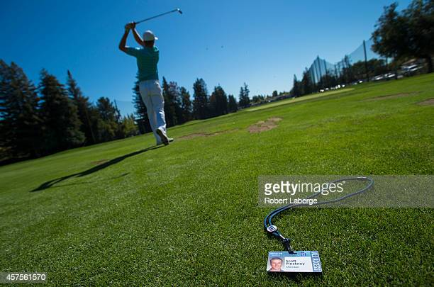 Scott Pinckney on the driving range on the day before the start of the Fryscom Open at the Silverado Resort and Spa on October 8 2014 in Napa...