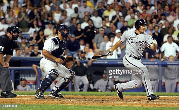 Scott Podsednik of the Chicago White Sox swings during the game with the New York Yankees on July 14 2006 at Yankee Stadium in the Bronx borough of...