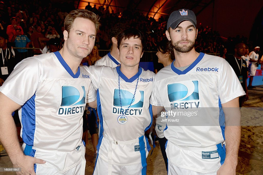 Scott Porter, Josh Hutcherson and Chace Crawford attend DIRECTV'S 6th Annual Celebrity Beach Bowl at DTV SuperFan Stadium at Mardi Gras World on February 2, 2013 in New Orleans, Louisiana.