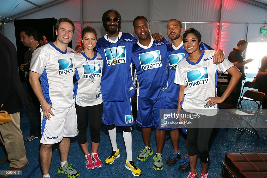 Scott Porter, Maria Menounos, Snoop Dogg, A. J. Calloway, Jessse Williams, and Alicia Quarles attend DIRECTV'S Seventh Annual Celebrity Beach Bowl at DTV SuperFan Stadium at Mardi Gras World on February 2, 2013 in New Orleans, Louisiana.