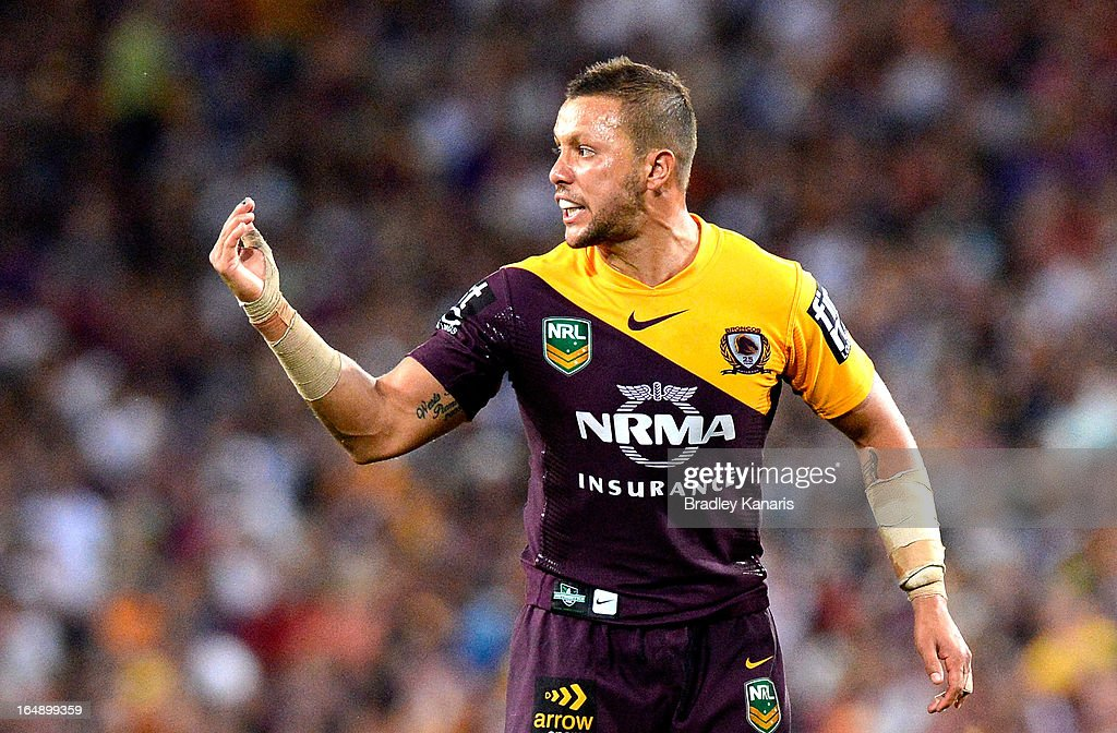 <a gi-track='captionPersonalityLinkClicked' href=/galleries/search?phrase=Scott+Prince&family=editorial&specificpeople=171862 ng-click='$event.stopPropagation()'>Scott Prince</a> of the Broncos calls out to his team mates during the round four NRL match between the Brisbane Broncos and the Melbourne Storm at Suncorp Stadium on March 29, 2013 in Brisbane, Australia.