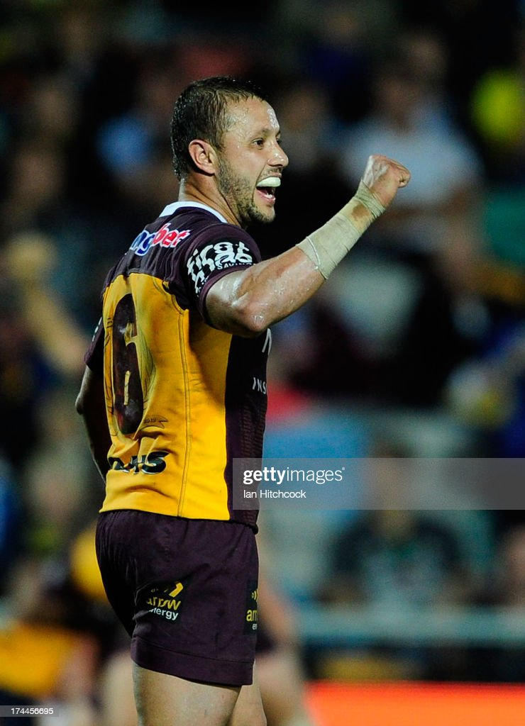 Scott Prince of the Broncos celebrates after winning the round 20 NRL match between the North Queensland Cowboys and the Brisbane Broncos at 1300SMILES Stadium on July 26, 2013 in Townsville, Australia.