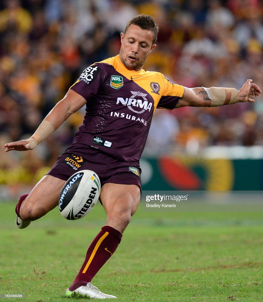 <a gi-track='captionPersonalityLinkClicked' href=/galleries/search?phrase=Scott+Prince&family=editorial&specificpeople=171862 ng-click='$event.stopPropagation()'>Scott Prince</a> of the Broncos kicks the ball during the round one NRL match between the Brisbane Broncos and the Manly Warringah Sea Eagles at Suncorp Stadium on March 8, 2013 in Brisbane, Australia.