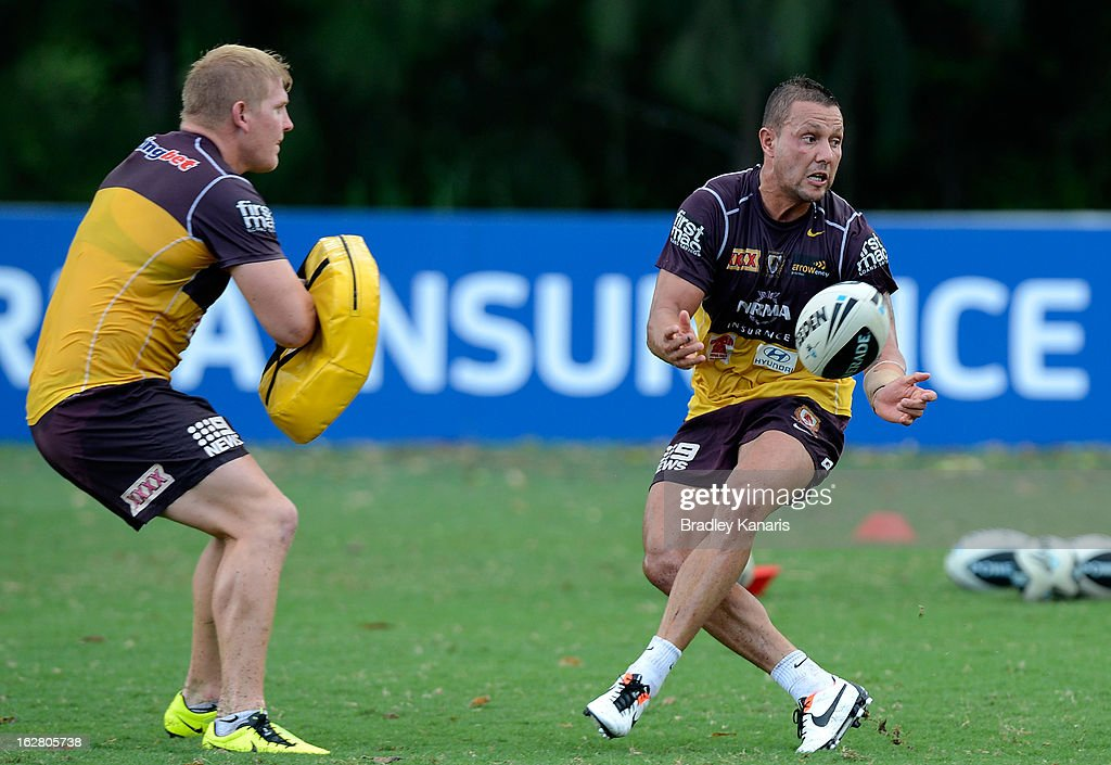 Scott Prince passes the ball during a Brisbane Broncos NRL training session on February 28, 2013 in Brisbane, Australia.