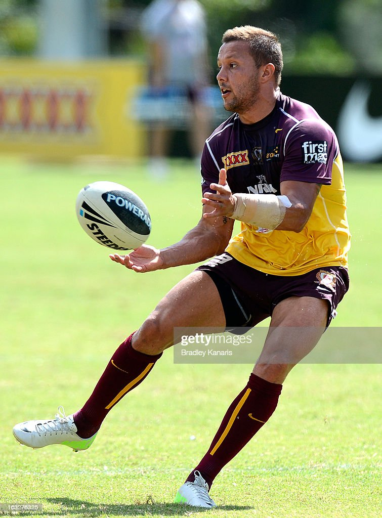 Scott Prince passes the ball during a Brisbane Broncos NRL training session on March 7, 2013 in Brisbane, Australia.