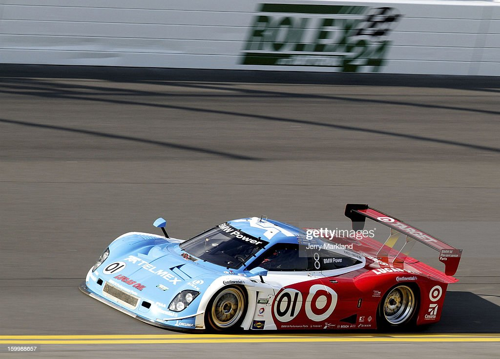 <a gi-track='captionPersonalityLinkClicked' href=/galleries/search?phrase=Scott+Pruett&family=editorial&specificpeople=541449 ng-click='$event.stopPropagation()'>Scott Pruett</a> drives the #01 TELMEX/Target BMW Riley during qualifying for the Rolex 24 at Daytona International Speedway on January 24, 2013 in Daytona Beach, Florida.