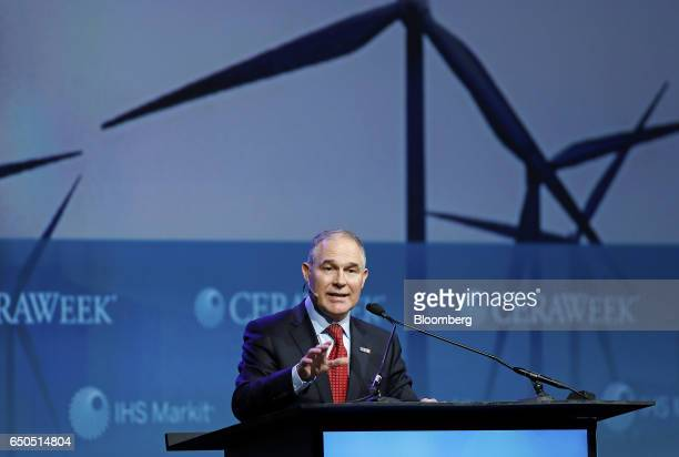 Scott Pruitt administrator of the Environmental Protection Agency speaks during the 2017 CERAWeek by IHS Markit conference in Houston Texas US on...