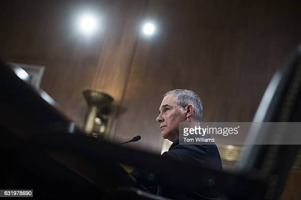 Scott Pruitt President Trump's nominee to be administrator of the Environmental Protection Agency testifies during his Senate Environment and Public...