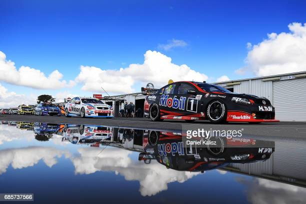 Scott Pye drives the Mobil 1 HSV Racing Holden Commodore VF during qualifying for race 9 for the Winton SuperSprint which is part of the Supercars...