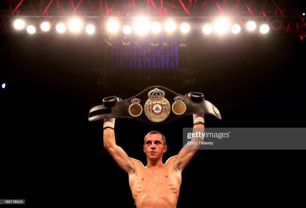 Scott Quigg celebrates his majority draw over Yoandris Salinas during their WBA World Super Bantamweight Championship bout at O2 Arena on October 5, 2013 in London, England.