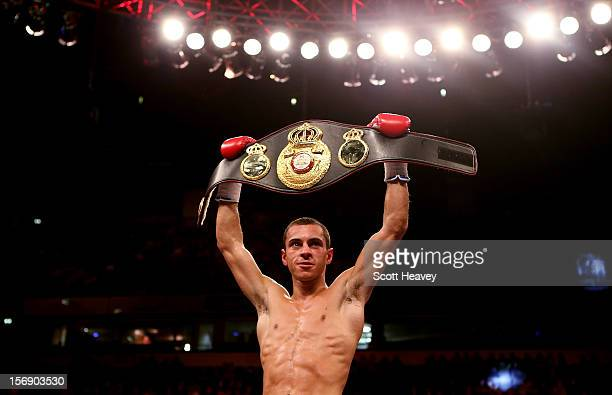 Scott Quigg celebrates his victory over Rendell Munroe during their Super Bantamweight bout at the MEN Arena on November 24 2012 in Manchester England