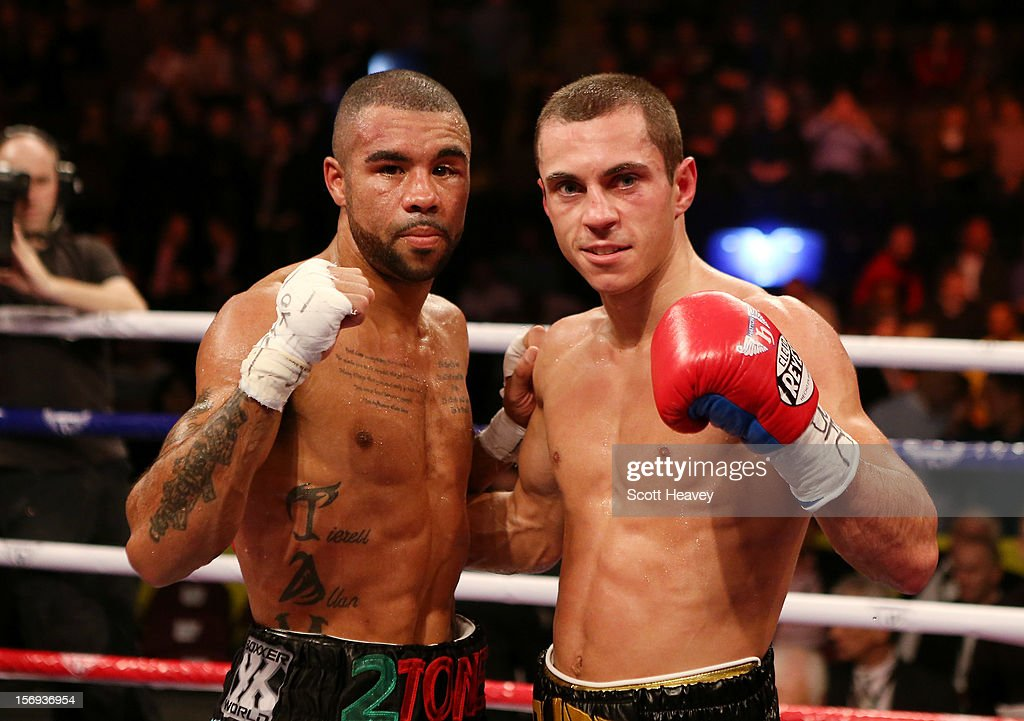 Scott Quigg celebrates his victory over Rendell Munroe during their Super Bantamweight bout at the MEN Arena on November 24, 2012 in Manchester, England.