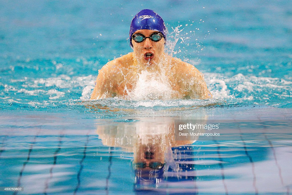 Scott Quin of Great Britain in action on his way to the silver medal and 2nd place in the Men's 100m Breaststroke SB14 Final during the IPC Swimming European Championships held at the Pieter van den Hoogenband Swimming Stadium on August 6, 2014 in Eindhoven, Netherlands.