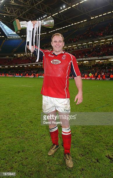 Scott Quinnell the Llanelli number eight celebrates after his side win the Principality Cup Final between Newport and Llanelli on May 3 2003 at the...