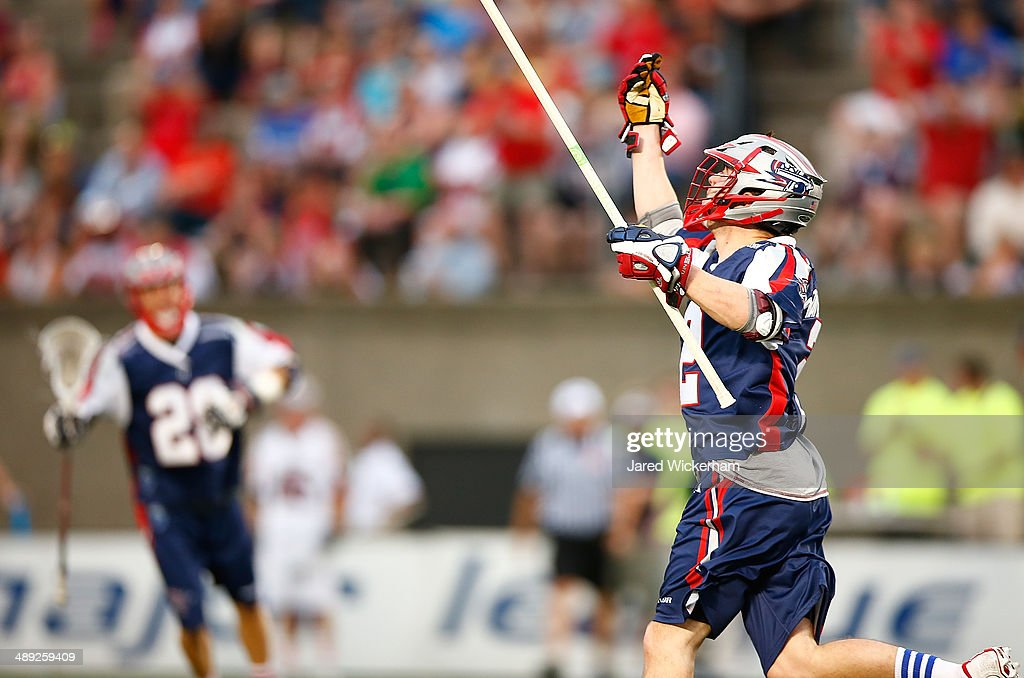 Scott Ratliff #2 of the Boston Cannons celebrates his goal in the first half against the Denver Outlaws at Harvard Stadium on May 10, 2014 in Boston, Massachusetts.
