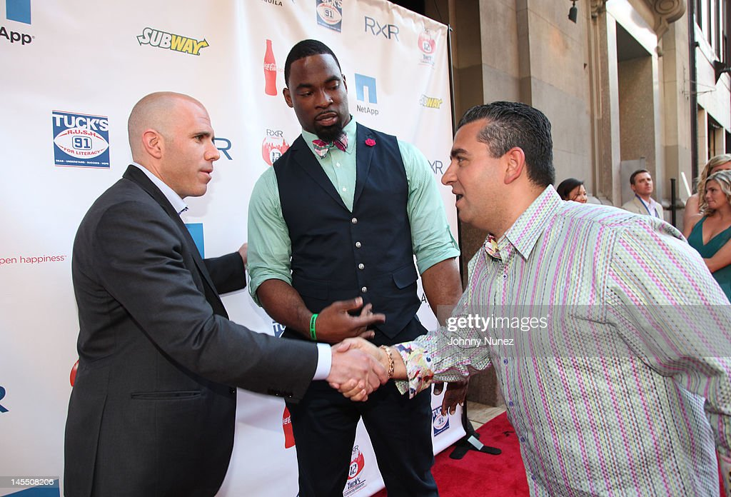 Scott Rechler, Justin Tuck and Buddy Valastro attend the NY Giants Justin Tuck 4th Annual celebrity billiards tournament at Slate NYC on May 31, 2012 in New York City.