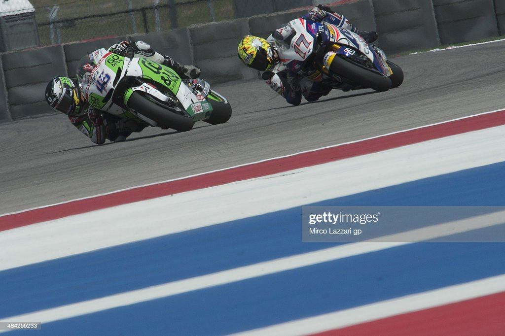 Scott Redding of Great Britain and Go&Fun Honda Gresini leads Karel Abraham of Czech and Cardion AB Motoracing during the MotoGp Red Bull U.S. Grand Prix of The Americas - Free Practice at Circuit of The Americas on April 11, 2014 in Austin, Texas.