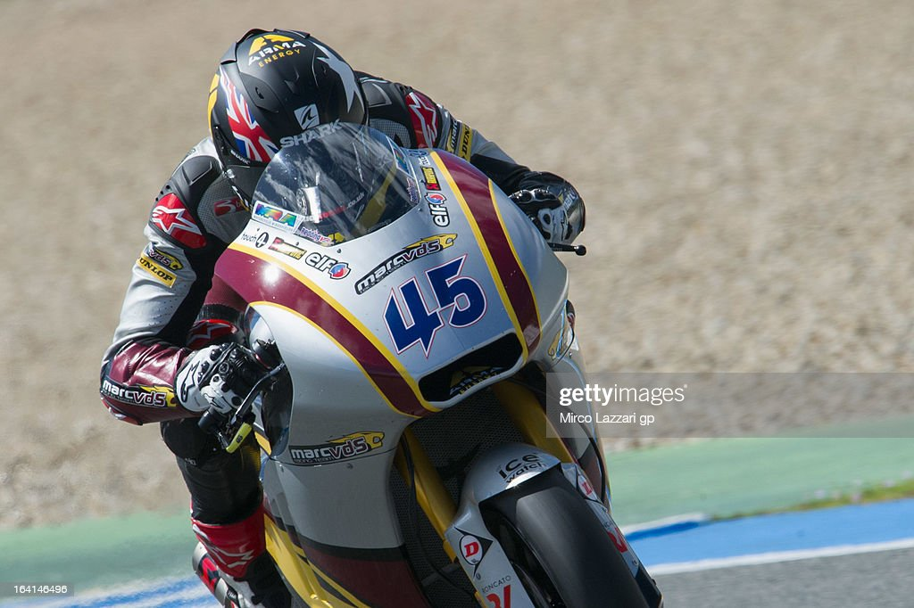 Scott Redding of Great Britain and Marc VDS Racing Team heads down a straight during the Moto2 and Moto3 Tests In Jerez - Day 3 at Circuito de Jerez on March 20, 2013 in Jerez de la Frontera, Spain.
