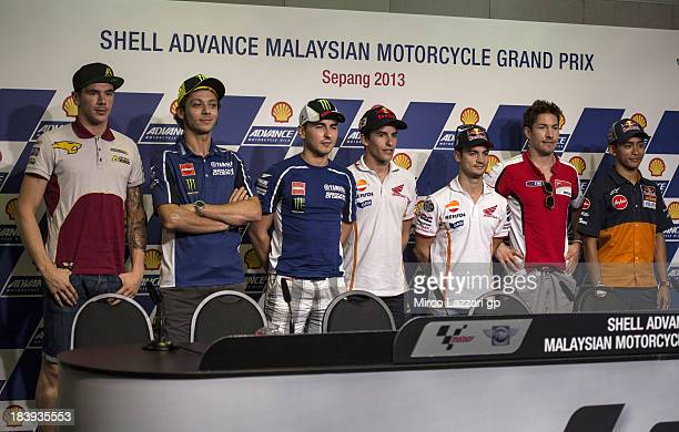 Scott Redding of Great Britain and Marc VDS Racing Team Valentino Rossi of Italy and Yamaha Factory Racing Jorge Lorenzo of Spain and Yamaha Factory...