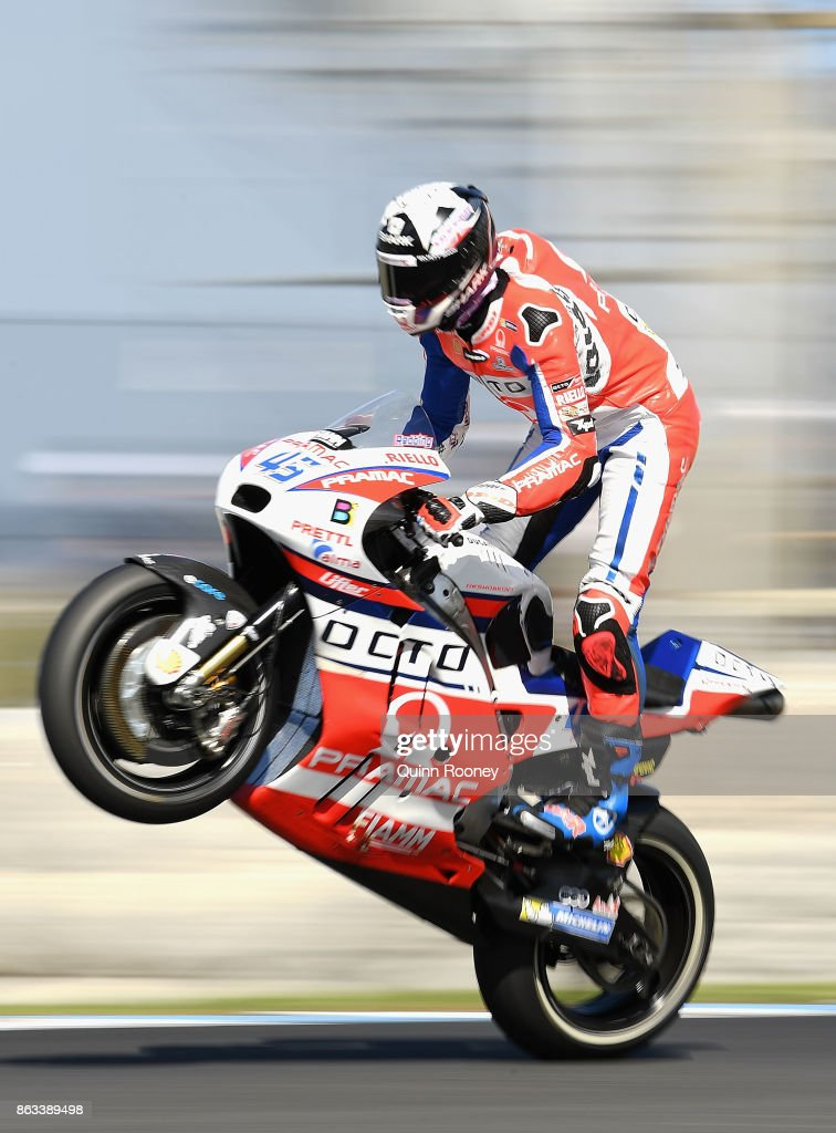 Scott Redding of Great Britain pops a mono on his #45 OCTO PRAMAC RACING during free practice for the 2017 MotoGP of Australia at Phillip Island Grand Prix Circuit on October 20, 2017 in Phillip Island, Australia.