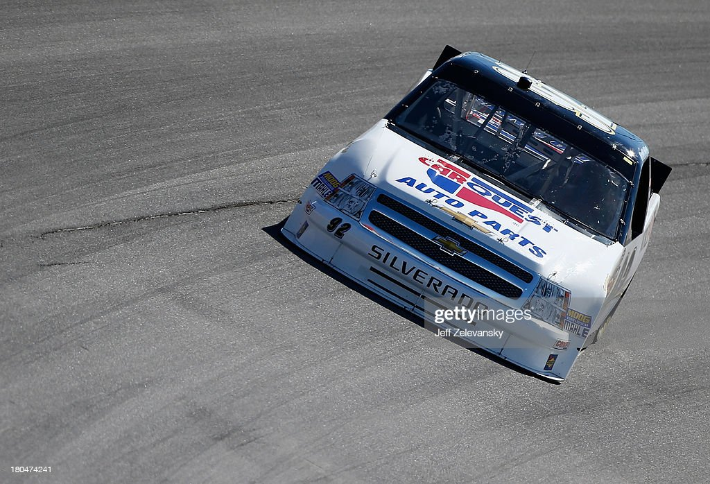 Scott Riggs drives the CarQuest WorldPac/GoodyearFleetHQ Chevrolet during practice for the NASCAR Camping World Truck Series enjoyillinoiscom 225 at...