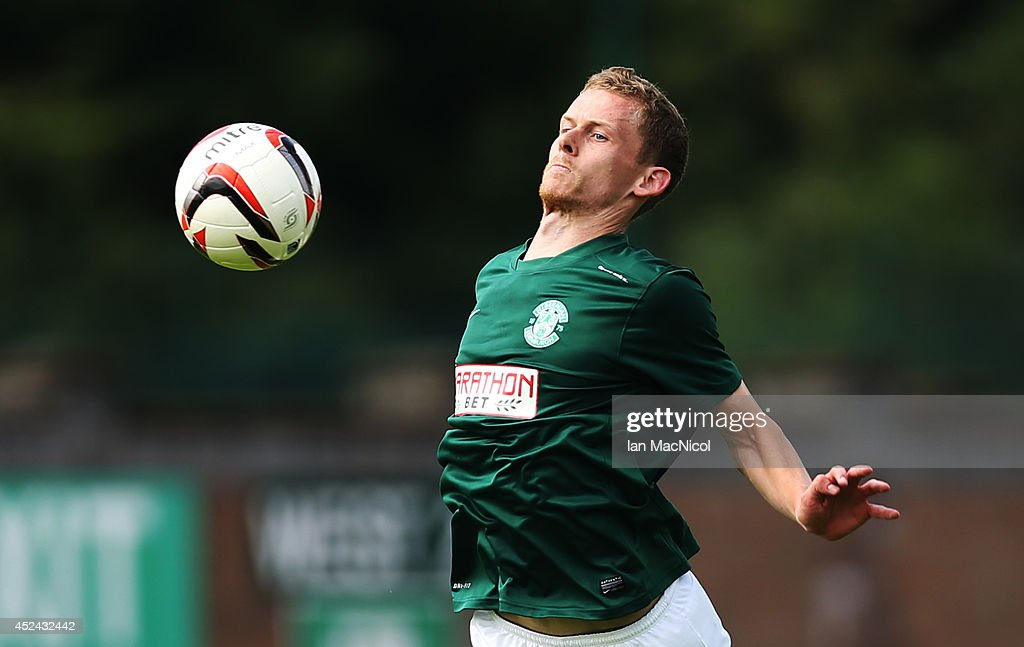 Scott Robertson of Hibernian controls the ball during the Pre Season Friendly match between Stirling Albion and Hibernian at Forthbank Stadium on July 20, 2014 in Stirling, Scotland.