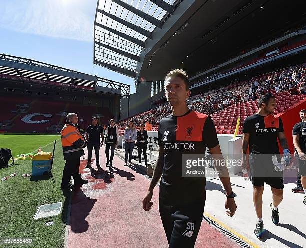 Scott Rogers manager of Liverpool Ladies at the main stand test event at Anfield on August 29 2016 in Liverpool England