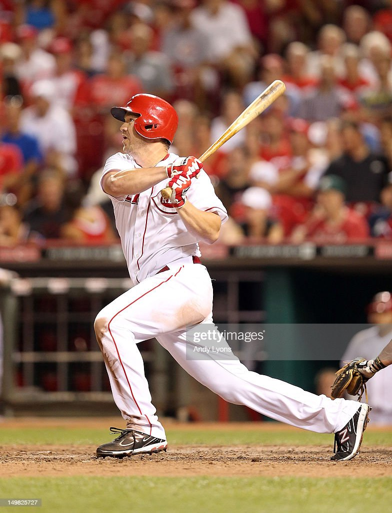 <a gi-track='captionPersonalityLinkClicked' href=/galleries/search?phrase=Scott+Rolen&family=editorial&specificpeople=167236 ng-click='$event.stopPropagation()'>Scott Rolen</a> #27 of the Cincinnati Reds hits a tripple during the game against the Pittsburgh Pirates at Great American Ball Park on August 4, 2012 in Cincinnati, Ohio.
