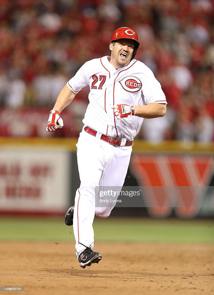 <a gi-track='captionPersonalityLinkClicked' href=/galleries/search?phrase=Scott+Rolen&family=editorial&specificpeople=167236 ng-click='$event.stopPropagation()'>Scott Rolen</a> #27 of the Cincinnati Redsruns to third base for a tripple during the game against the Pittsburgh Pirates at Great American Ball Park on August 4, 2012 in Cincinnati, Ohio.