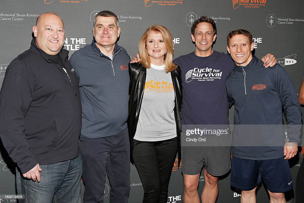 Scott Rosen, Dr. Craig Thompson, Seth Meyers, Arianna Huffington and David Linn attend the 2013 Cycle For Survival Benefit at Equinox Rock Center on March 3, 2013 in New York City.