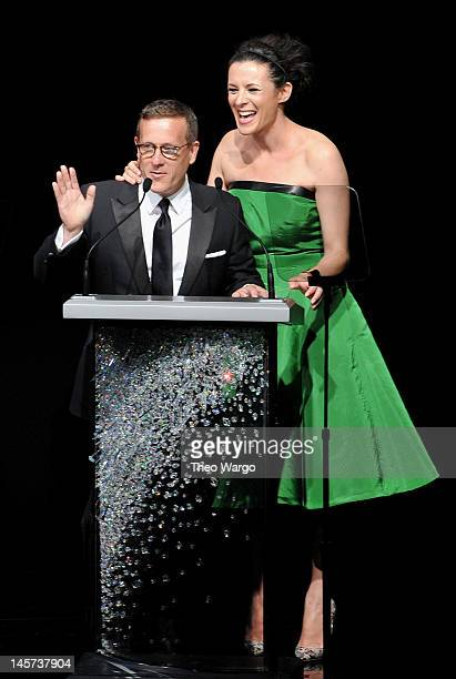 Scott Schuman and Garance Dore receive CFDA Media Award on stage at the 2012 CFDA Fashion Awards at Alice Tully Hall on June 4 2012 in New York City