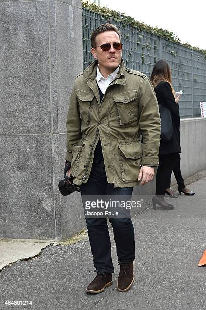 Scott Schuman arrives the Bottega Veneta show during the Milan Fashion Week Autumn/Winter 2015 on February 28 2015 in Milan Italy