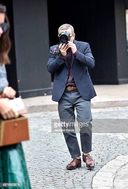 Scott Schuman departs the Miu Miu Fashion Show during the Paris Fashion Week S/S 2016 Day Nine on October 7 2015 in Paris France