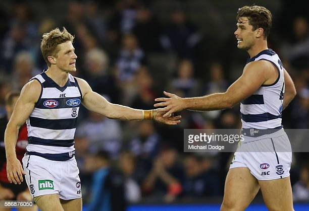 Scott Selwood of the Cats and Tom Hawkins a goal during the round 20 AFL match between the Geelong Cats and the Essendon Bombers at Etihad Stadium on...