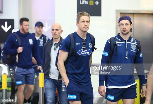 Scott Selwood of the Cats arrives to fly to Adelaide at Melbourne Airport on September 21 2017 in Melbourne Australia