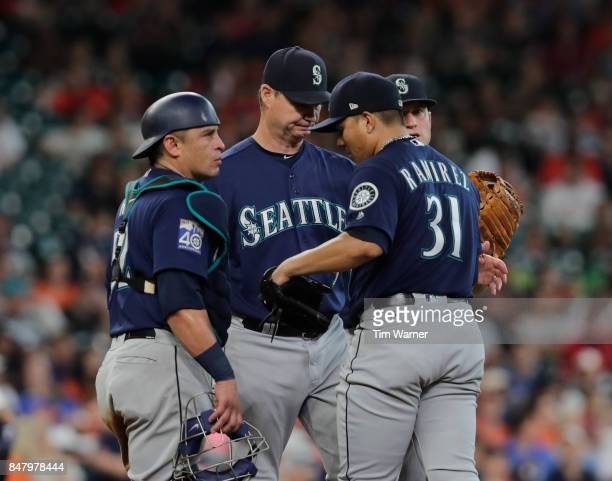Scott Servais of the Seattle Mariners removes Marco Gonzales from the game in the fifth inning against the Houston Astros at Minute Maid Park on...