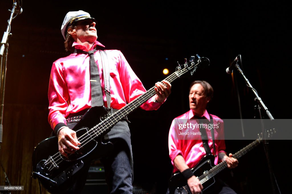 Scott Shiflett and Chris Shiflett perform with Me First and the Gimme Gimmes at Ye Scallywag! at Waterfront Park on October 21, 2017 in San Diego, California.