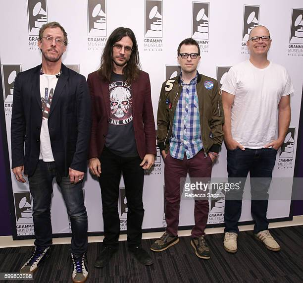 Scott Shriner Brian Bell Rivers Cuomo and Patrick Wilson of Weezer at An Evening With Weezer at The GRAMMY Museum on September 6 2016 in Los Angeles...